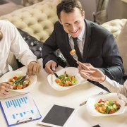 Business people eating a meal