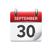 September  30. Vector flat daily calendar icon. Date and time